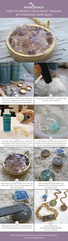 Create a Faux Druzy Pendant! Former Innovation Team Member Stephanie Gard Buss created this faux druzy tutorial using pieces of stones and beads that had chipped. Save those extra bits, grab some Nunn Design 2-Part Resin and try this technique!