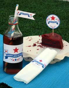 """Happy 4th of July - Free Printables - invitations, party circles, party flags, tented cards (2 varieties), water bottle labels, napkin rings, favor tags, and a """"Happy July 4th"""" banner"""