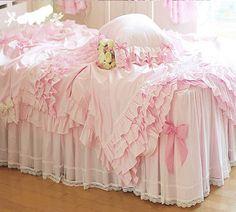 lace ruffle bedding sets, romantic pink princess duvet cover,modern bow bedding skirt