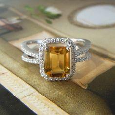 18K White Gold Citrine & Diamond Halo Double Band Ring #Bridal #Engagement #FineJewelry