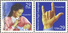American Sign Language, I Love You- US Postage Stamps