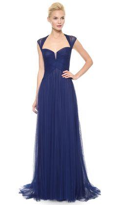 Monique Lhuillier Драпированное вечернее платье с цельнокроеными рукавами