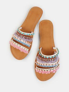 SheIn offers Vibrant Embellished Slides WHITE & more to fit your fashionable needs. Boho Sandals, Cute Sandals, Sport Sandals, Cute Shoes, Me Too Shoes, Top 10 Shoes, Beach Shoes, Shoe Collection, Summer Shoes