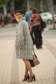 """Knitted coat / Верхняя одежда ручной работы. Ярмарка Мастеров - ручная работа. Купить Пальто """"Городской шик"""". Handmade. Серый, пальто вязаное"""