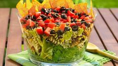 Layered Taco Salad You're 30 minutes away from a fiesta of flavors in a big bowl of luscious layered salad.