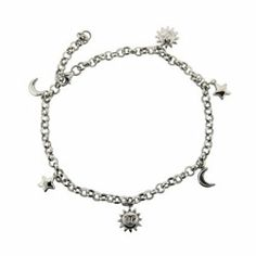 Sterling Silver Jewelry - Sun, Moon, and Stars Anklet in Sterling Silver