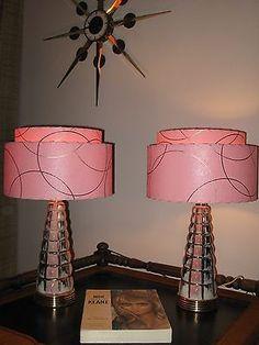 Pair of Mid Century Vintage Style 2 Tier Fiberglass Lamp Shades Atomic P2