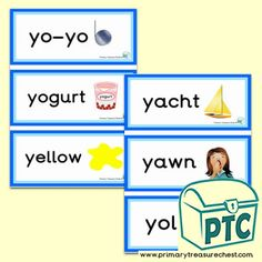 Letter 'y' Themed Flashcards, Word Mats, Posters & Challenges - Primary Treasure Chest Book Activities, Teaching Resources, Teaching Ideas, Ourselves Topic, Key Stage 1, Sound Art, Preschool Printables, Letter Sounds, Eyfs
