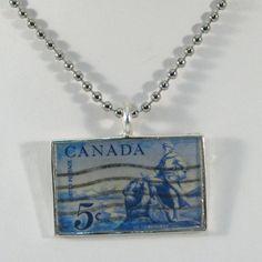 Vintage Canadian Postage Stamp Pendant Necklace  La by 12be, $14.50