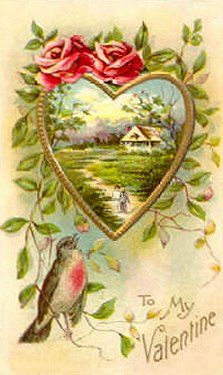 Beautiful Vintage Valentine. My grandmother (born 1878) had many of this style of card in her scrapbook. In person, you would be able to see that the card is not flat but embossed.