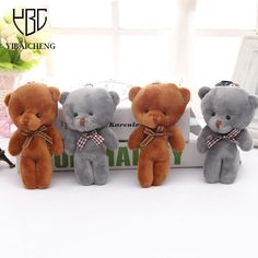 14CM Q Mini Teddy Bear Plush Stuffed Toy Doll Pendant Bag Accessory Wedding Gifts Keychain Plush Stuffed Toys For Children Kids