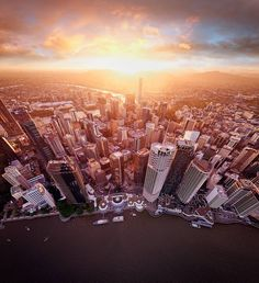 """Visit Brisbane on Instagram: """"Woah @lensaloft, you really know how to nail an aerial shot of @brisbanecity👌There really is nothing like a good Brissy sunset. Head to…"""" You Really, Shots, Skyline, Explore, Sunset, City, Brisbane Queensland, Nature Decor, Instagram"""