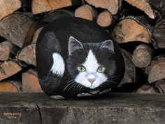 HAPPY ROCKS | chat grandeur nature, peint sur pierre | rockpainting ☼ yvette | Flickr