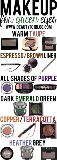 Love all these helpful articles with tips: what eyeshadows suit your eye colour? Having green eyes these are mine.