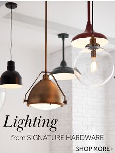 Update your home with unique pendant and chandelier lighting. With designs including art deco, industrial, mid-century, farmhouse & more, there over 100 high-quality styles that will complement your…More Decor, Lighting Inspiration, Ceiling Lights, Wall Colors, Light Fixtures, Home Lighting, Lights, Signature Hardware, Stylish Lights
