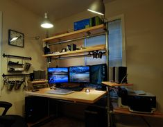 Hand Built Desk With Three Monitor Computer Setup Samsung For Gaming