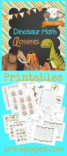 Printable Dinosaur Math Activities for #preschool and #kindergarten