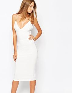 Missguided | Missguided White Slinky Strappy Midi Dress at ASOS