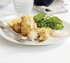 Home-made Fish Fingers ~ 30 mins ~ Per Serving:  336 calories, protein 26g, carbohydrate 21g, fat 17 g, saturated fat 3g, fibre 3g, sugar 2g, salt 0.88 g ~ Serve with salad ~ Save on fat by adding 2 tablsepoons cottage cheese to 2 tablespoons mayo in place of mayo only