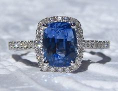 Ceylon Cushion Blue Sapphire Engagement Ring with Diamond Halo, by JuliaBJewelry