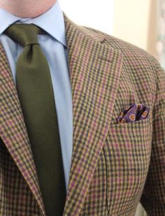 Brown green purple guncheck blazer, blue shirt, green tie, silk p square, casual Friday