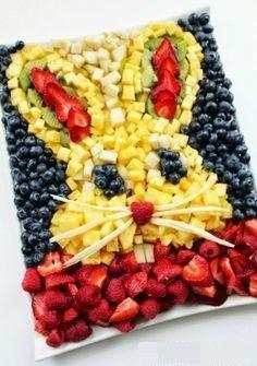 Easter Bunny Head Fresh Fruit Platter -1 pineapple -1 pear -3 kiwi -18oz blueberries -6 oz raspberries -10 oz strawberries For full recipe go to: https://www.facebook.com/EthelLariviere/photos/a.322486774465572.66563.255079897872927/654690377911875/?type=1&theater