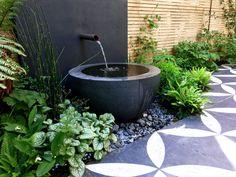 Primrose Hill Garden Design Water Features In The Garden Modern Water Feature, Small Water Features, Diy Water Feature, Backyard Water Feature, Water Features In The Garden, Small Garden With Fountain, Garden Features, Small Gardens, Outdoor Gardens