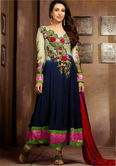 Stunning Beige and Navy Blue Indian Suit :- Fashion And Style Will Be On The Top Of Your Attractiveness After You Attire This Extra Beautiful Buttercream and Navy Blue Resham Work Faux Georgette Indian Designer Salwar Kameez. You Can See Some Fascinating New Patterns  Accomplished With Delicate Red and Pink Resham Floral Patch,Lace,Resham,Stones Work Ideal For any Get Togethe and Paired With A Matching Bottom and Comes With A Contrast Red Chiffon Dupatta.