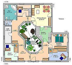 Atrium 4 Bungalow Einfamilienhaus Neubau Massivbau Stein auf Stein