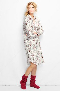 Women's Long Sleeve Print Flannel Nightshirt from Lands' End