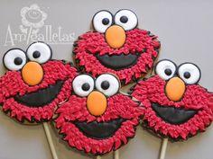 Elmo cookies on a stick - Amigalletas.etsy.com