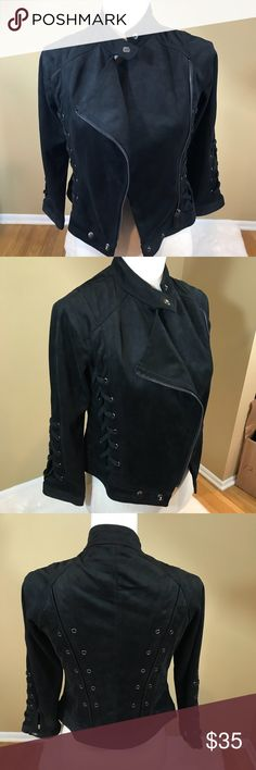 """Fate Rock Star Jacket Feels and looks like Suede  very light weight  100% polyester  So Rock Star. Length is about 19""""  under the arms across laying flat is about 15"""" zipped sleeves are about 20"""" Fate Jackets & Coats"""
