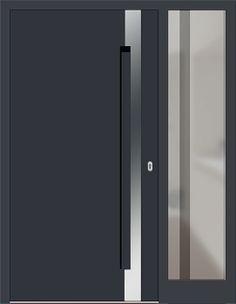 Kunststoff Haustür Modell 6974-40 anthrazitgrau mit Seitenteil rechts