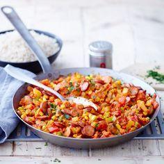 Würstchenpfanne mit Reis Rezept | Weight Watchers