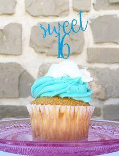 sweet 16 blue glitter cupcake topper