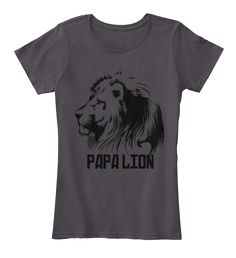Papa Lion Heathered Charcoal  T-Shirt Front