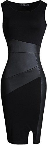 jeansian Women's Fake Leather-based Stitching Sleeveless Bodycon Costume WKD227