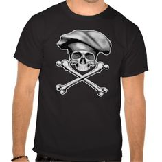 Black and white chef skull and crossbones wearing traditional, puffy style chef hat.