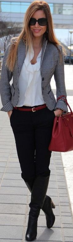 Great outfit altogether, I love the checked jacket, the playful version of the classic white button down, skinny jeans, boots and a red bag.  You can't go wrong! Jacket, Boot, Fashion, Cloth, Offic, Hugo Boss, Street Styles, Blazers, Work Outfit