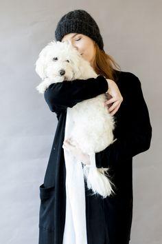 lovely merino wool cardigan and cute dog Wool Cardigan, Merino Wool, Cute Dogs, Fur Coat, Jackets, Design, Fashion, Down Jackets, Moda