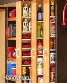 Awesome pull away shelving for a a garage - perfect for extra storage (dry food...preps?)