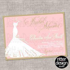 Pink Tan Wedding Dress Wedding Bridal Invitation - Printable Digital File by RitterDesignStudio on Etsy (null)