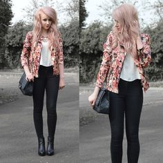 Floral Jacket + Statement Necklace + White Top + Black Skinny Pants + Black Ankle Boots