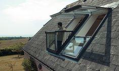Order VELUX GDL white paint triple glazed double balcony systems for slate. Roof Balcony, Balcony Window, Roof Window, Loft Conversion Balcony, Loft Dormer, House Roof Design, Apex Roof, Modern Balcony, Dormer Windows