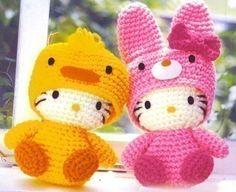 Amigurumi Sanrio Huhn und Kaninchen Hello Kitty häkeln von getfun