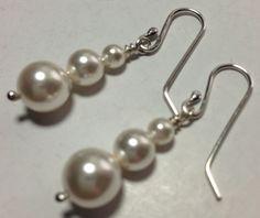 Silver Pearl Earring, sterling earring, pearl earring,drop earring, dangle earring, silverbymaggie, bridal jewelry,swarovski pearls, earring by SilverByMaggie on Etsy