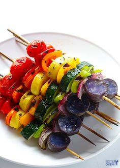 Rainbow Veggie Skewers | 23 Delicious Ideas For Summer Skewers And Kebabs