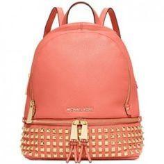 Michael Kors Rhea Women's Small Studded Backpack Bag Leather (One Size US Women, Pink Grapefruit)