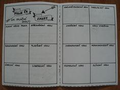 """Cestovatelský zápisník - ukázka dvoustrany - děti získají za splněné úkoly znak daného kraje, který se vlepí do správného """"okénka"""" Diy And Crafts, Homeschool, Classroom, Education, History, Creative, Learning, Homeschooling, Teaching"""