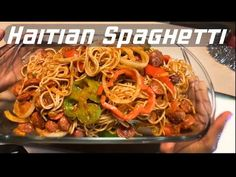 thin spaghetti noodles pack hot dogs Onions tri colored bell peppers Garlic cloves Maggie cube or Maggie pollo 3 Tbls tomato paste 2 Roma tomatoes . Haitian Spaghetti Recipe, Spaghetti Recipes, Pasta Recipes, Cooking Recipes, Donut Recipes, New Orleans Recipes, Haitian Food Recipes, Louisiana Recipes, Alcohol Recipes